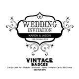 Tappningetiketter - bröllopinbjudan Arkivfoton
