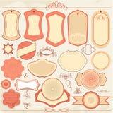 Tappningetikettuppsättningen i rosa färger och beiga färgar med dekorativt Royaltyfri Bild