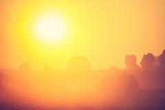 Tappningfoto av den dimmiga ängen för morgon i sommar lantlig liggande Royaltyfri Foto