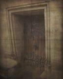 Tappningfoto av den gamla red ut dörren arkivfoton