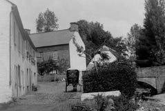 Tappningfoto som tas i 1903 av en ponny och en fälla, Llangorse, Abery Royaltyfri Bild
