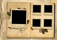 Tappningfotoalbum med bunten av gamla foto-ramar Fotografering för Bildbyråer