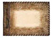 Tappningfotoalbum med den bruna läderräkningen Arkivfoto