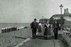 Tappningfotoet 1901, Holidaymakers, Aberystwyth ståtar, Wales Arkivfoton