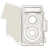 Tappningfotokamera med karaktärsteckning Arkivfoto