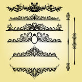 Tappninggarneringbeståndsdelar Calligraphic prydnader och ramar för krusidullar retro stil för design Royaltyfri Fotografi