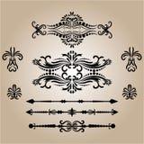 Tappninggarneringbeståndsdelar Calligraphic prydnader och ramar för krusidullar retro stildesignsamling stock illustrationer