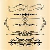 Tappninggarneringbeståndsdelar Calligraphic prydnader och ramar för krusidullar Retro stildesignsamling för inbjudningar, baner Royaltyfri Illustrationer
