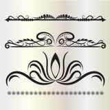 Tappninggarneringbeståndsdelar frodas Calligraphic prydnader, och ramar grånar bakgrund Vektor Illustrationer