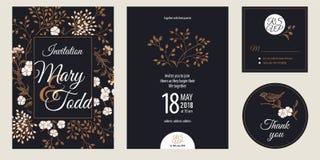Tappninghälsning- och inbjudankortet med blommor och fågeln ställde in royaltyfri illustrationer