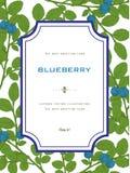 Tappninghälsningkort med blåbäret med blad Naturligt organiskt Arkivfoto