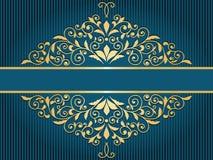 tappninghälsningkort med den guld- blom- modellen Royaltyfri Bild