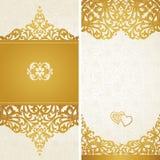 Tappninghälsningkort med virvlar och blom- motiv i retro stil. Royaltyfri Foto