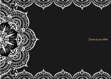Tappninghälsningkort på en svart bakgrund Lyxig prydnadmall Utmärkt för inbjudan, reklamblad, meny, broschyr som är postcar vektor illustrationer