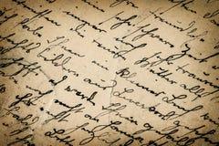 Tappninghandskrift antik skrift tätt papper för bakgrund som skjutas upp Royaltyfri Foto