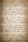 Tappninghandskrift sida av den gamla poesiboken åldrig pappers- backgro Fotografering för Bildbyråer