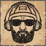 Tappningillustration av hipsterstil, vektorillustration på th Arkivbild