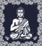 Tappningillustration med Buddha i meditation royaltyfri illustrationer