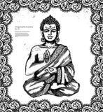Tappningillustration med Buddha i meditation stock illustrationer