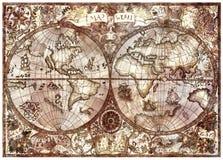 Tappningillustration med den antika översikten för världskartbok Royaltyfria Bilder