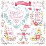 Tappninginbjudan, hälsningkort härlig blom- hjärtaillustrationvektor vektor illustrationer