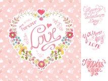 Tappninginbjudan, hälsningkort härlig blom- hjärtaillustrationvektor stock illustrationer