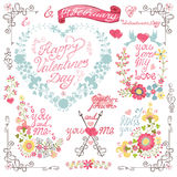 Tappninginbjudan, hälsningkort härlig blom- hjärtaillustrationvektor Royaltyfri Foto
