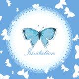 Tappninginbjudankort med den blåa fjärilen Arkivbild