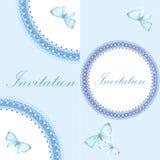 Tappninginbjudankort med den blåa fjärilen Arkivfoton