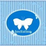 Tappninginbjudankort med den blåa fjärilen Royaltyfri Fotografi