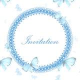 Tappninginbjudankort med den blåa fjärilen Royaltyfri Bild
