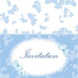 Tappninginbjudankort med den blåa fjärilen Arkivfoto