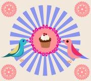 Tappninginbjudankort med körsbäret stock illustrationer