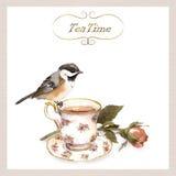 Tappninginbjudankort med retro design - nätt vattenfärgfågel, tekopp, rosblomma Royaltyfria Foton