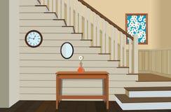 Tappninginre av hallet med en trappuppgång Royaltyfria Foton