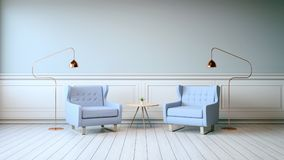 Tappninginredesignen, blåa fåtöljer på den vita durken och grå färgväggen, 3d framför Royaltyfri Foto