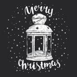 Tappningjul lykta och inskrift Vektorillustration för ett kort eller en affisch ` S för nytt år och jul Vinter stock illustrationer