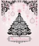 Tappningjul som hälsar vykortet med det blom- dekorativa trädet för xmas och hänger garnering med pappers- snöflingor stock illustrationer
