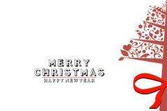 Tappningjulgran, jul och nya år vitbakgrund Fotografering för Bildbyråer