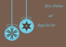 Tappningjulkort med hängande julbollar, royaltyfri illustrationer