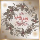 Tappningjulkortet med Holly Jolly borstebokstäver, mistel och sörjer kransen royaltyfri illustrationer