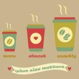 Tappningkaffeaffisch med tre koppar och band royaltyfri illustrationer