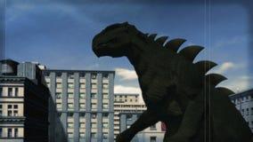 TappningKaiju film: attack av den gigantiska färgversionen stock video
