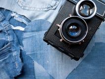 Tappningkamera på grov bomullstvill Royaltyfria Bilder
