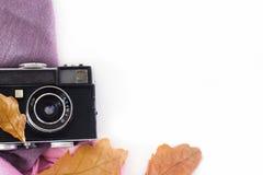 Tappningkamera på vita bakgrund och höstsidor royaltyfria foton