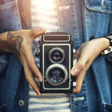 Tappningkamerafotograf Focus Shooting Concept Fotografering för Bildbyråer