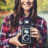 Tappningkamerafotograf Focus Shooting Concept Royaltyfria Bilder