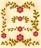 Tappningkaraktärsteckning av röda blommor och sidor Royaltyfri Foto