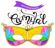 tappningkarnevalet maskerar på gul bakgrund Mångfärgad karnevalmaskering, med den calligraphic inskriftkarnevalet på vit bakgrund