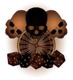 Tappningkasinobakgrund med pokerbeståndsdelar och  Fotografering för Bildbyråer